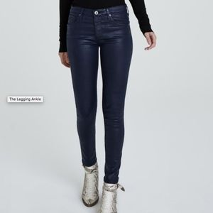 AG - BLUE - THE LEGGING ANKLE LEATHERETTE JEANS